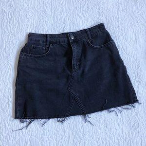 NWOT Urban Outfitters Black Denim Distressed Skirt